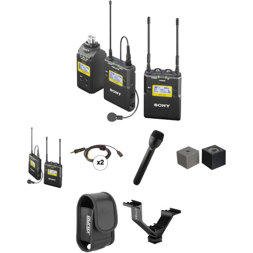 Sony UWP-D16 Premium 2-Person Camera-Mount Wireless Combo Microphone System Kit (UC14: 470 to 542 MHz)