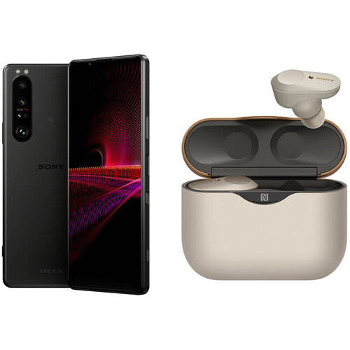 Sony XPERIA 1 III Dual-SIM 256GB 5G Smartphone with WF-1000XM3 Noise-Canceling Earbuds Kit (Unlocked, Frosted Black/Silver)