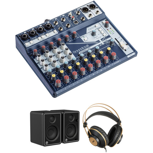 Soundcraft Notepad-12FX Mixer, JBL Reference Monitors, and AKG Headphones Kit