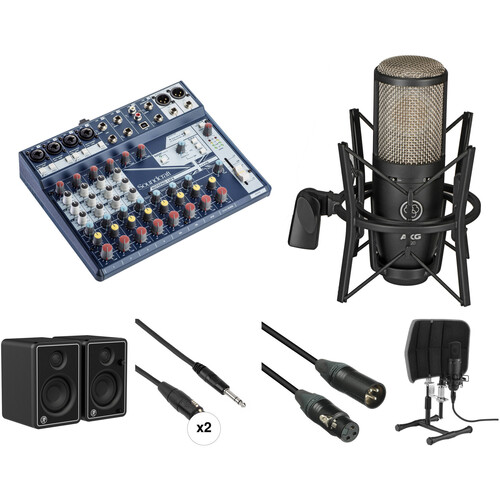 Soundcraft Notepad Mixer, AKG Microphone, and JBL Monitors Recording Studio Kit