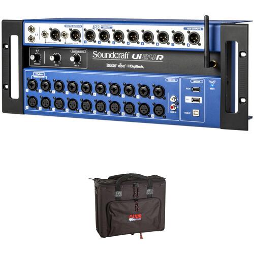 Soundcraft Ui24R 24-Channel Digital Mixer / Multitrack USB Recorder with 4 RU Rack Bag Kit