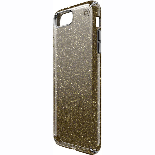 Speck Presidio Clear Glitter Case for iPhone 7 Plus (Onyx Black with Gold Glitter)