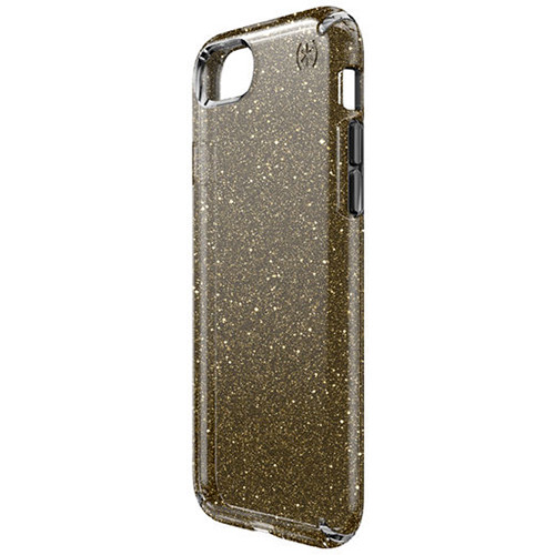 Speck Presidio Clear Glitter Case for iPhone 7 (Onyx Black with Gold Glitter)