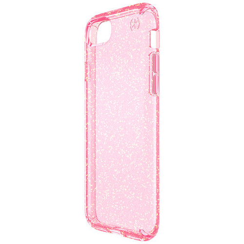 Speck Presidio Clear Glitter Case for iPhone 7 (Rose Pink with Gold Glitter)