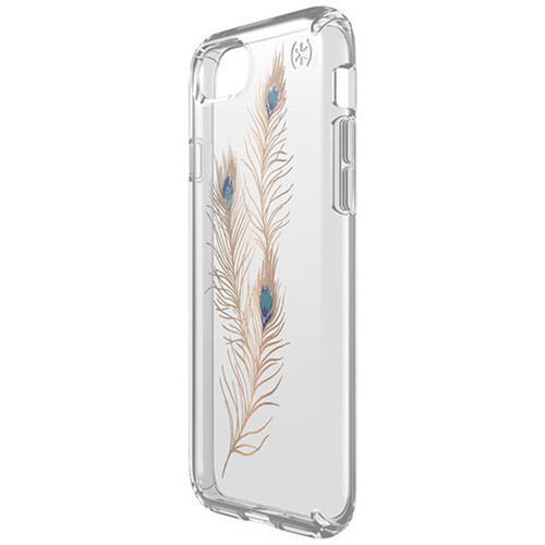 Speck Presidio Clear Print Case for iPhone 7 (Showy Feather Gold/Clear)