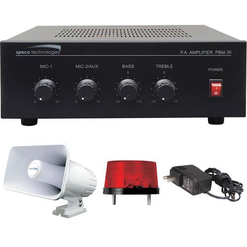 Speco Technologies Digital Deterrent Alarm Kit with 30W Amplifier, PA Speaker Horn, Strobe Flasher & Power Supply