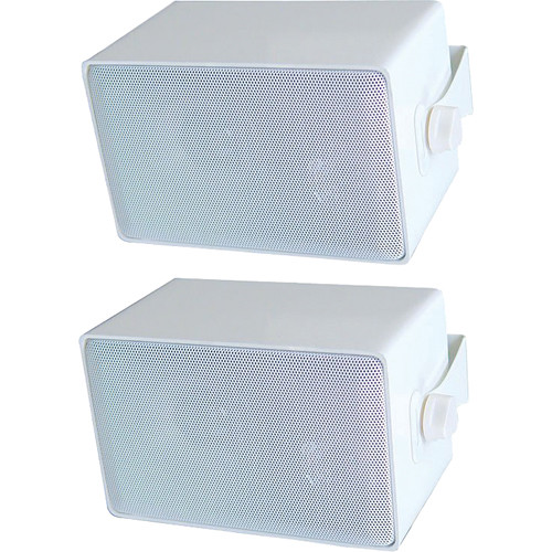Speco Technologies DMS3PW 3-Way All Weather Mini Speakers (Pair, White )