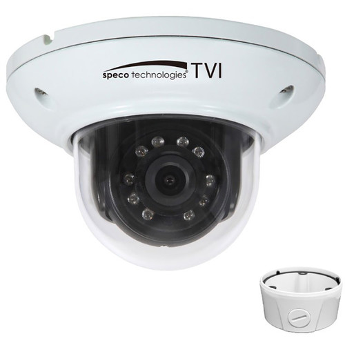 Speco Technologies HD-TVI 2MP Day/Night IR Mini-Dome Camera with Junction Box (White Housing)
