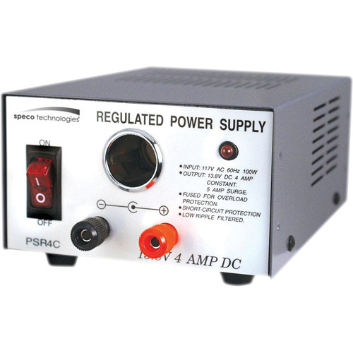Speco Technologies PSR4C 12 VDC Regulated Power Supply with Cigarette Lighter Adapter