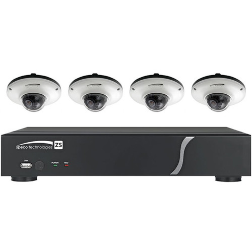 Speco Technologies One 4-Channel N4ZS NVR with Four OiMD1W 1080p Outdoor IP Dome Cameras and Four 50' CAT 5e Cables