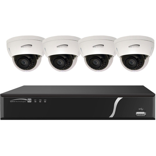 Speco Technologies ZIPL84D2 8-Channel 1080p NVR with 2TB HDD and 4 3MP Dome Cameras
