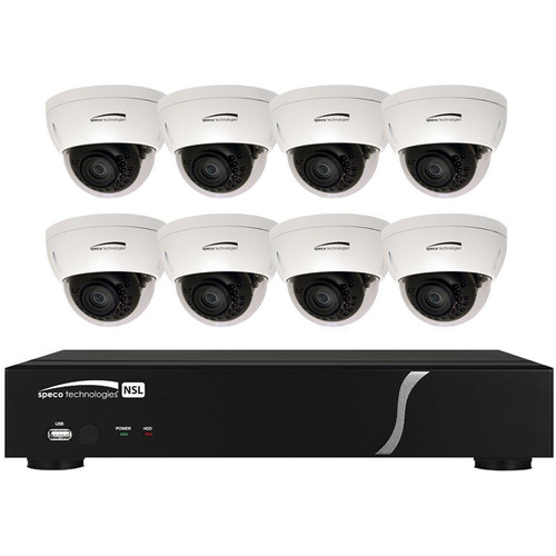 Speco Technologies ZIPL88D2 8-Channel 1080p NVR with 2TB HDD and 8 3MP Dome Cameras