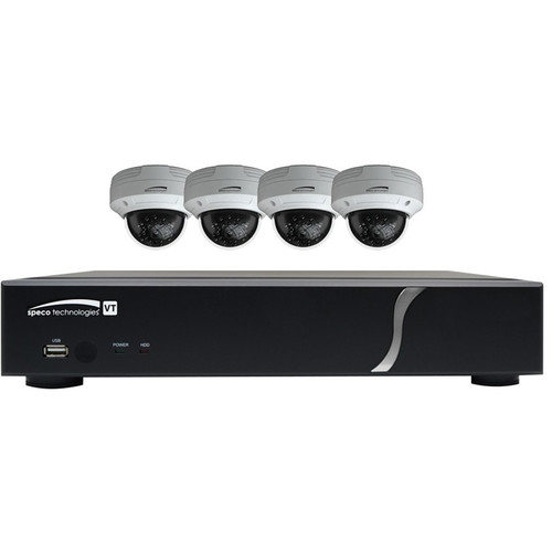 Speco Technologies ZIPT4D1 4-Channel HD-TVI Digital Video Recorder and 4 HD-TVI Dome Camera Kit (White)
