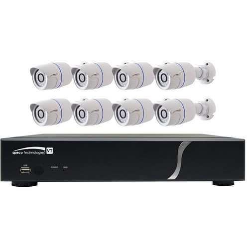 Speco Technologies ZIPT88B2 8-Channel HD-TVI Digital Video Recorder and 8 HD-TVI Bullet Camera Kit (White)