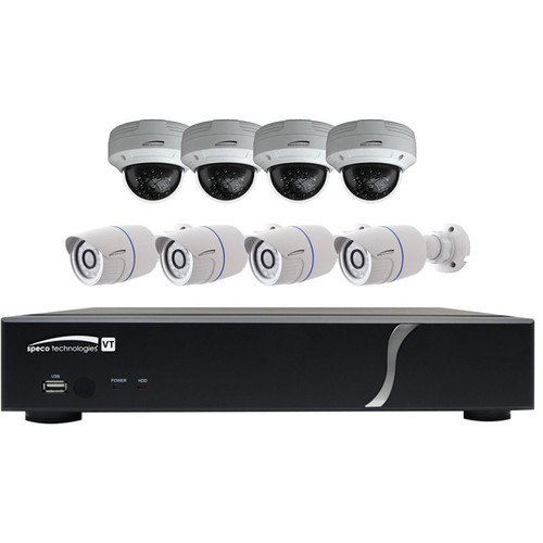 Speco Technologies ZIPT8BD2 8-Channel HD-TVI Digital Video Recorder Kit with 4 HD-TVI Dome Camera and 4 HD-TVI Bullet Camera (White)