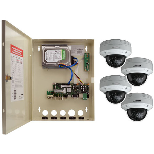 Speco Technologies 4-Channel HD-TVI Wall Mount DVR with 4 HD-TVI Outdoor IR Dome Cameras