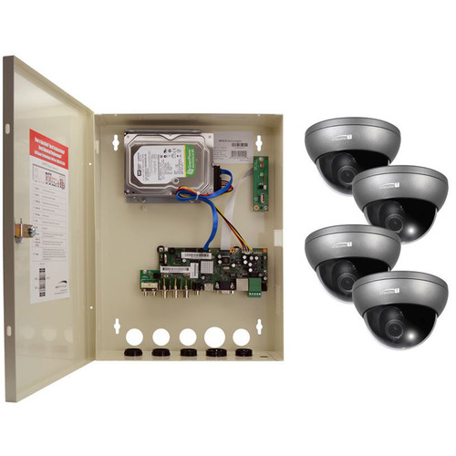 Speco Technologies 4-Channel HD-TVI Wall Mount DVR with 4 HD-TVI Outdoor Dome Cameras