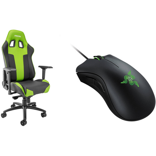 Spieltek Bandit XL Gaming Chair & Razer DeathAdder Gaming Mouse Kit (Green)