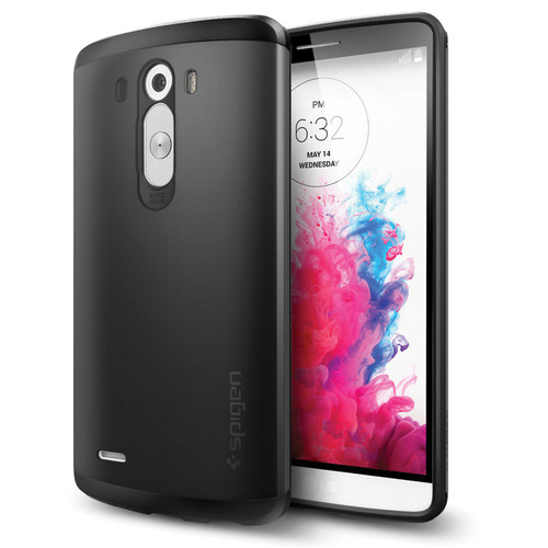 Spigen Slim Armor Case for LG G3 (Smooth Black, Retail Packaging)