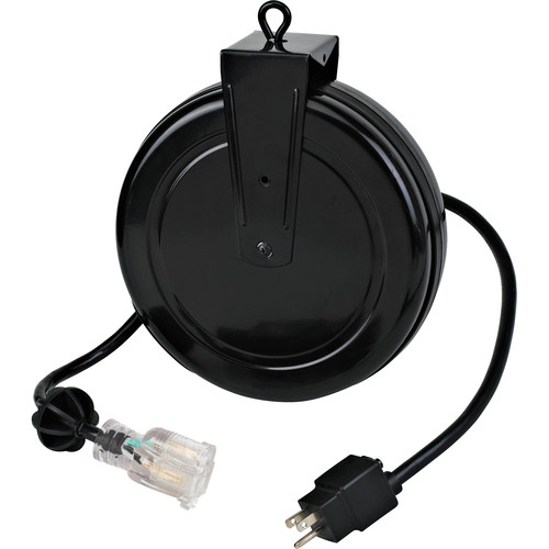 Stage Ninja 12-AWG 1-Outlet Retractable Power Reel with LED Power Indicator and Circuit Breaker (Black Cord, Black Steel Housing, 20')