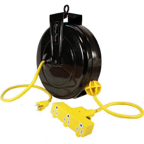 Stage Ninja 14-AWG 3-Outlet Retractable Power Reel with Circuit Breaker (Yellow Cord, Black Steel Housing, 30')