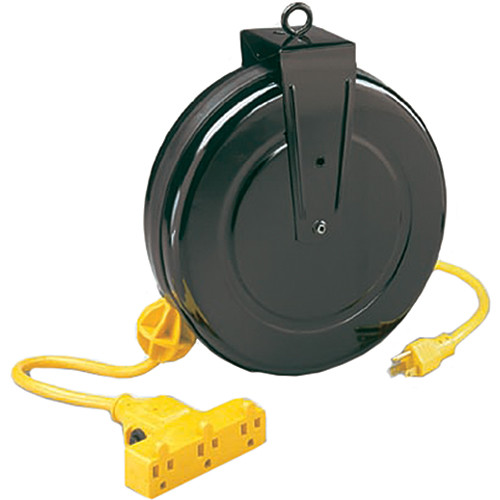 Stage Ninja STX-30-3-14 30' Cold Weather Rated 14/3 AWG SJT Type Retractable Power Cord Reel (Black)