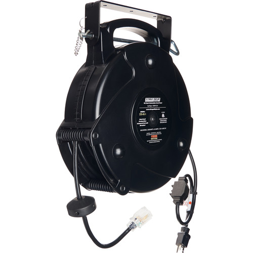 Stage Ninja 12-AWG 1-Outlet Retractable Power Reel with LED Power Indicator and Circuit Breaker (Black Cord, Black Thermoplastic Housing, 45')