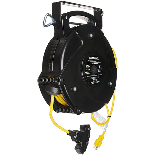 Stage Ninja 12-AWG 4-Outlet Retractable Power Reel with LED Power Indicator and Circuit Breaker (Yellow Cord, Black Thermoplastic Housing, 65')