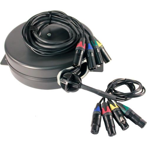 Stage Ninja XLR4-25-S Retractable Quad-Fan XLR Cable Reel (25')