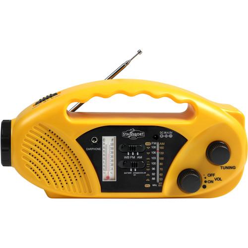 Stansport Compact Crank/Solar/Battery-Powered AM/FM Radio Flashlight