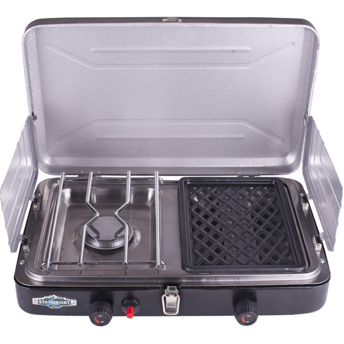 Stansport Propane Stove & Grill Combo with Piezo Igniter (Black)