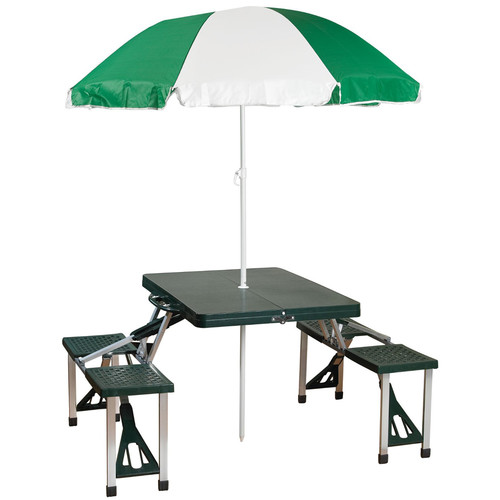 Stansport Picnic Table and Umbrella Combo Pack (4 Seats, Green)