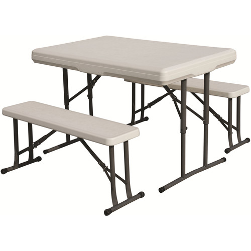 Stansport Folding Table with Bench Seats (White)