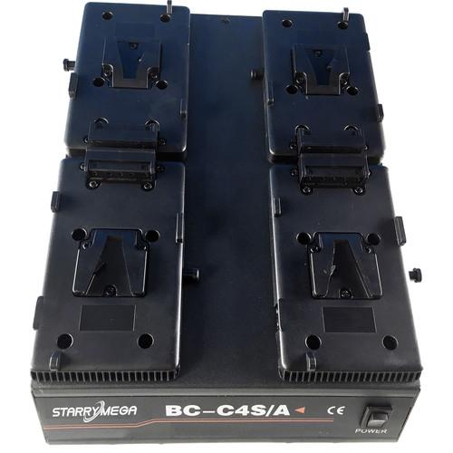 StarryMega 4-Bay Simultaneous Charger for V-Mount Batteries