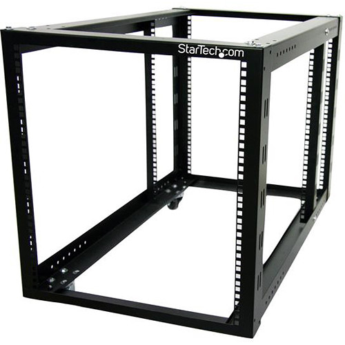 StarTech 12 RU 4-Post Server Equipment & Open-Frame Rack Cabinet with Adjustable Posts & Casters