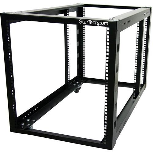 StarTech 12 RU 4-Post Server Equipment & Open-Frame Rack Cabinet with Adjustable Posts & Casters