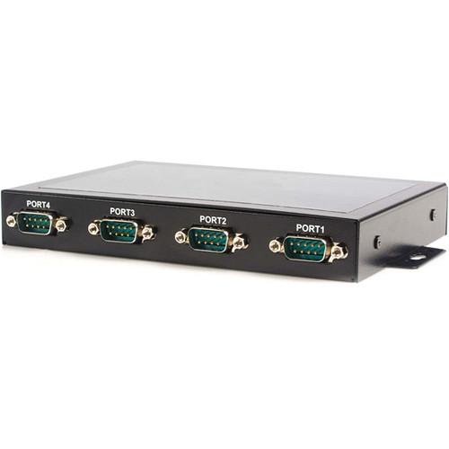 StarTech 4-Port USB to Serial Adapter Hub with COM Retention (Black)