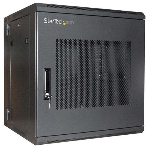 "StarTech 12 RU 19"" Hinged Wall Mount Server Rack Cabinet with a Steel-Mesh Door (Black)"