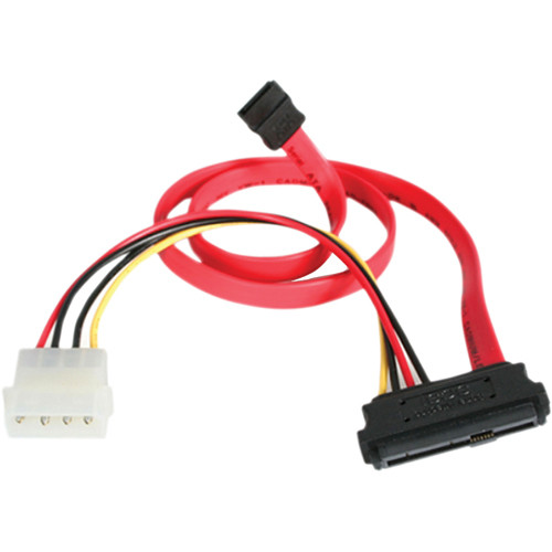 "StarTech SAS 29 Pin to SATA Cable with LP4 Power (Red, 18"")"