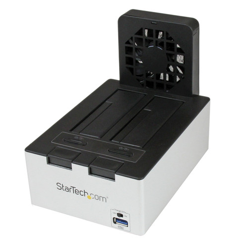StarTech USB 3.0 Dual Hard Drive Dock with Fast Charge USB Hub (Black & Silver)