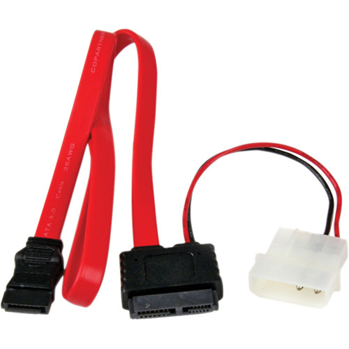 "StarTech Slimline SATA to SATA with LP4 Power Cable Adapter (Red, 20"")"