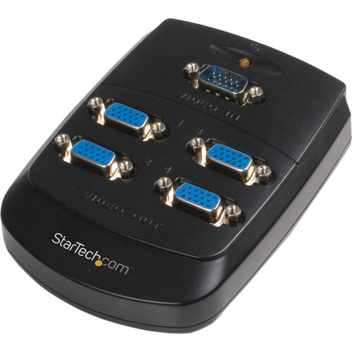 StarTech ST124W 4 Port Wall-Mountable VGA Video Splitter (Black)