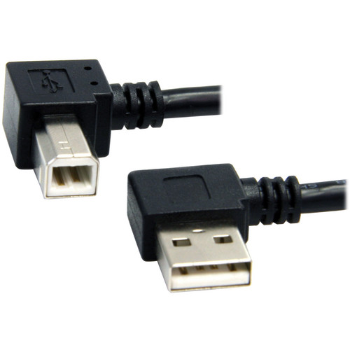StarTech 3' (0.9m) A Male Right Angle to B Male Right Angle USB Cable (Black)