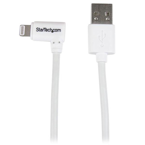 StarTech Angled Black Apple 8-pin Lightning Connector to USB Cable for iPhone / iPod / iPad (6.6', White)
