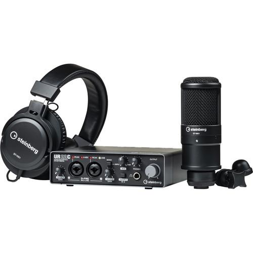 Steinberg UR22C Recording Pack with 2x2 USB Gen 3.1 Audio Interface, Headphones & Studio Mic