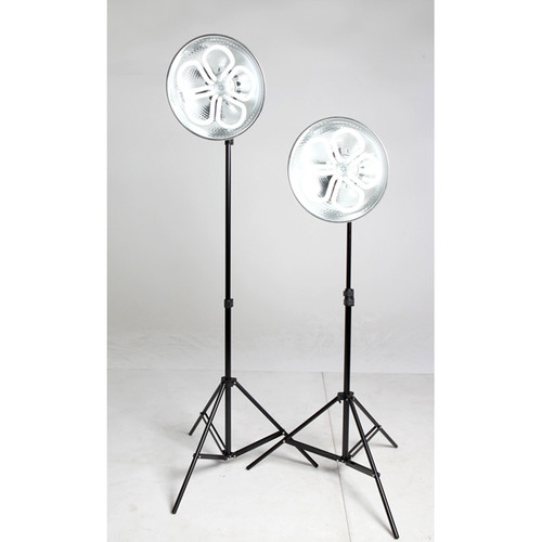 Stellar Lighting Systems CFL -14P-T2 Lotus Tungsten Fluorescent 2-Light Kit with Stands