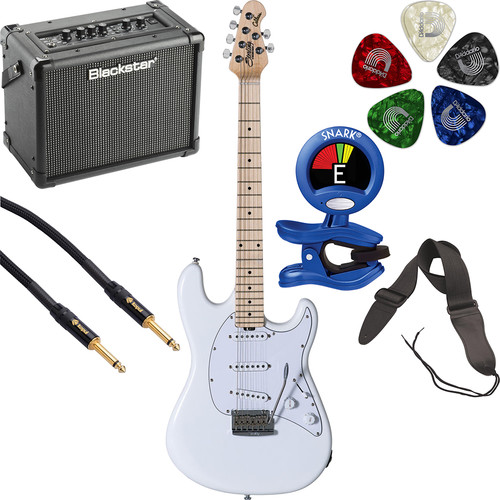 Sterling by Music Man CT50 Cutlass Series Electric Guitar & Amplifier Starter Kit (Olympic White)