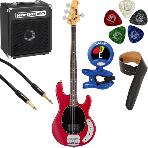 Sterling by Music Man S.U.B. Ray4 4-String Electric Bass & Combo Amp Starter Kit (Transparent Red Satin)