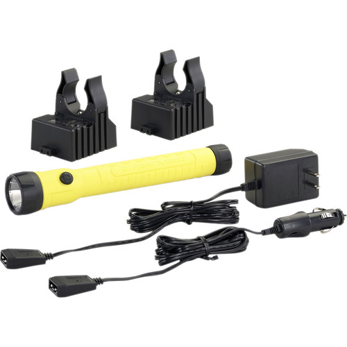 Streamlight PolyStinger Haz-Lo Rechargeable LED Flashlight with Two 120/100 VAC / 12 VDC Smart Chargers (Yellow)