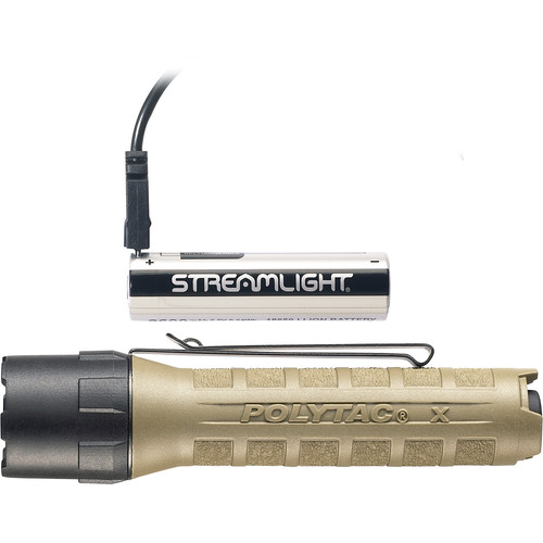 Streamlight Polytac X USB Multifuel Tactical Flashlight with 18650 Battery & Charge Cable (Coyote)